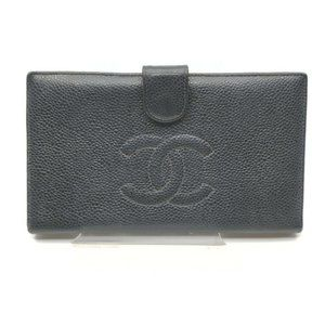 Auth Chanel Long Wallet Black Caviar #N77226H78